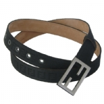 Fendi 8C0130/7C0130 Zucchino Leather Belt- Black