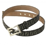 Fendi 8C0130/7C0130 Zucchino Leather Belt- Mogano