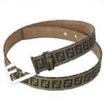 Fendi 8C0130/7C0130 Zucchino Leather Belt- Tan/Brown