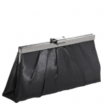 Jessica McClintock J460370 East/West Satin Clutch -Black/Gun Metal