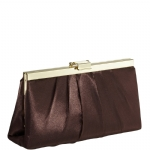 Jessica McClintock J460370 East/West Satin Clutch -Bronze/Gold