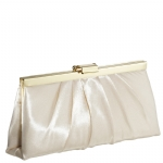 Jessica McClintock J460370 East/West Satin Clutch -Champagne/Gold