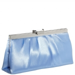 Jessica McClintock J460370 East/West Satin Clutch -Peri/Silver