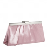 Jessica McClintock J460370 East/West Satin Clutch - Rose/Silver