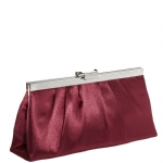 Jessica McClintock J460370 East/West Satin Clutch - Ruby/Silver
