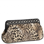 Jessica McClintock J940111 Animal Print Clutch - Black/Pewter