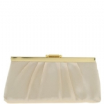 Jessica McClintock J460370 East/West Satin Clutch - Beige/Gold