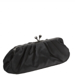 Jessica McClintock J661690 Pleated Satin Clutch Bag - Black
