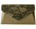 Jessica McClintock 92286 Lace Envelope Clutch -Taupe