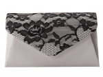 Jessica McClintock 92286 Lace Envelope Clutch -Silver