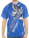 Ed Hardy Mens Eagle Mesh Crew Tee Top- Blue