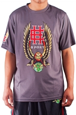 Ed Hardy Mens Eagle Mesh Crew Tee Top - Grey