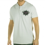 Ed Hardy Mens Death Before Dishonor Rhinestoned Polo Shirt - Gray