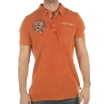 Ed Hardy Mens Harmony Rhinestoned Polo Shirt -Red