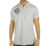 Ed Hardy Mens Harmony  Rhinestoned Polo Shirt -Grey Violet
