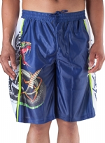 Ed Hardy Mens Snake Sweat Pants Shorts - Blue