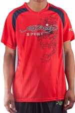 Ed Hardy Mens Shooter Mesh V-neck Tee Top - Red