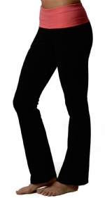 New Balance Fold Over Lounge Pants - Black/Diva Pink