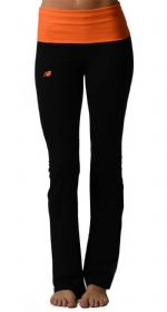 New Balance Fold Over Lounge Pants - Black/Shocking Orange