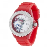 Ed Hardy Dulcet Rocker Swarovski Skull  Watch - Red