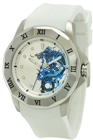 Ed Hardy RM-WH Roman Dragon Watch - The Ed Hardy RM-WH�Roman�Dragon Watch features a�White dial with silver-tone hands and markers in a stainless steel case. The Japanese quartz movement ensures accurate time keeping. This watch is water-resistant up to�50 meters and the black rubber strap secures with a buckle clasp. This watch has a limited two-year warranty.