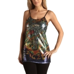 Ed Hardy Womens Tiger Fire Sequined Tunic Dress