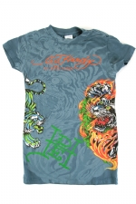 Ed Hardy Kids Girls Flaming Tiger T-Shirt -Light Blue