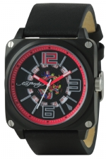 Ed Hardy Slick  Leather Strap Mens Watch