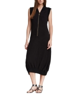 Style NY Women's Embroidered Knit Zipper Fashion T-Shirt Dress - Black