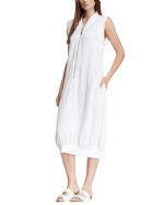 Style NY Women's Embroidered Knit Zipper Fashion T-Shirt Dress - White