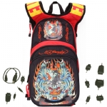 Ed Hardy Tiger Cross Backpack with Solar Charger - Red