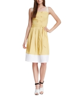 Style NY Women's Double Breasted Button Heidi Dress - Mustard