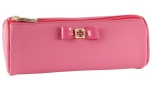 Tory Burch Bow Tubular Cosmetic Case-Strawberry