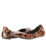 Tory Burch Eddie Patent Leather Leopard Flats Shoe - Multi Natural