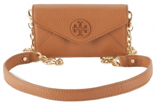Tory Burch Stacked Envelope Crossbody Clutch-Luggage - A modern classic, the Tory Burch Stacked Envelope Clutch Crossbody Bag is a timeless accessory, ideal for carrying  your essentials and more for your night out . Made of genuine rich pebbled leather and gold hardware. Tory Burch logo adorns the front of the bag. Magnetic flap over snap closure.