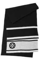 Tory Burch Two Tone Jacquard Scarf-Black/Grey