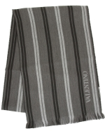 Valentino Striped Wool Scarf-Black