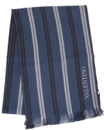 Valentino Striped Wool Scarf-Navy