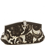 Jessica McClintock V41002 Lace Clutch Bag - Black-Champagne