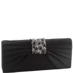 Jessica McClintock V90719 Satin Jeweled Flap Clutch - Black