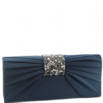 Jessica McClintock V90719 Satin Jeweled Flap Clutch - Navy