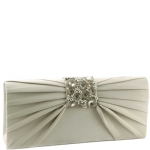 Jessica McClintock V9071942 Satin Jeweled Flap Clutch - Silver