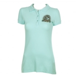 Ed Hardy Womens Panther & Roses Basic Polo Shirt - Aqua