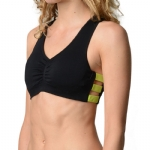 New Balance V-Neck Day Bra - Black/Neon Green