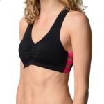 New Balance V-Neck Day Bra - Black/Pink Glo
