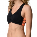 New Balance V-Neck Day Bra - Black/Fiery Red