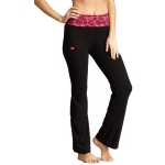 New Balance Floral Print Fold Over Lounge Pants - Black/Very Berry