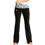 New Balance Floral Print Fold Over Lounge Pants - Black/White