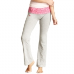 New Balance Mum Print Fold Over Lounge Pants - Light Grey/Very Berry