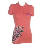 Ed Hardy Womens Shark Rose Rhinestone Embroidered Polo - Rose